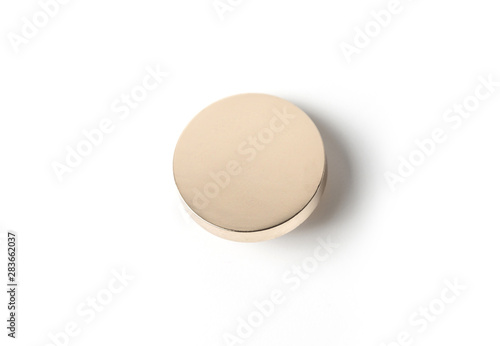 Canvas-taulu Golden Button, badge pin brooch isolated on white background.