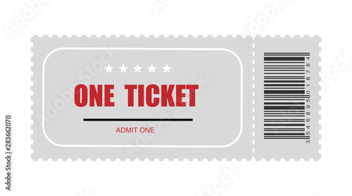 Photo one ticket with bar code. template ticket vector icon