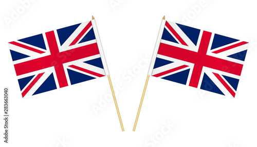 Fotografía Two small United Kingdom flags isolated on white background, vector illustration