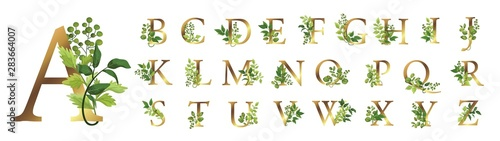 Fotomural  Collection romantic gold letters with drawn watercolor leaves