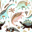 Cute cartoon dinosaurs seamless pattern in scandinavian style