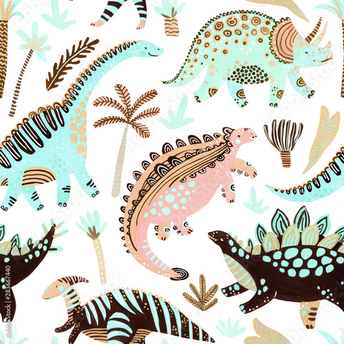 Cute cartoon dinosaurs seamless pattern in scandinavian style