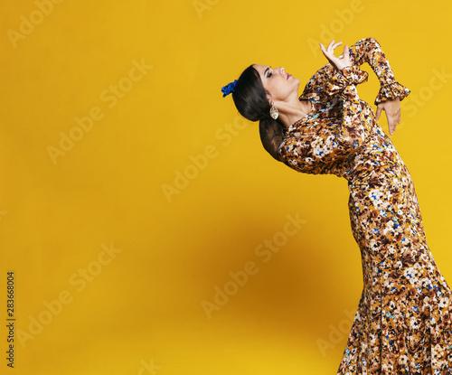 Photo  Stunning flamenco dancer bending back