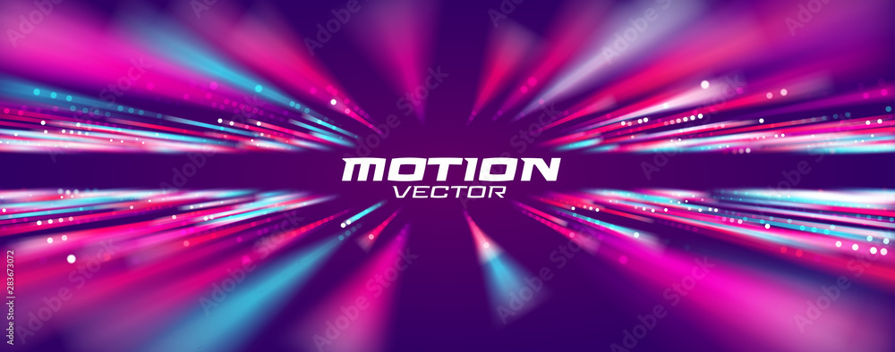 Fototapeta Motion speed line abstract vector background, Moving effect light.