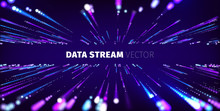 Data Stream Tunnel Abstract Vector Background. Data Transfer