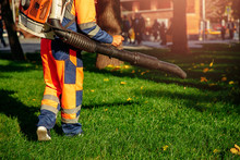 Leaf Blower Male Worker Remove...