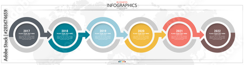 Fototapeta Infographic business horizontal timeline steps process chart template. Vector modern banner used for presentation and workflow layout diagram, web design. Abstract elements of graph options. obraz