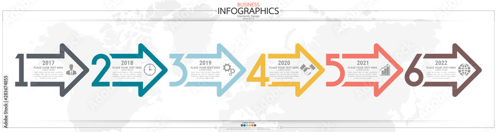 Fototapeta Infographic business horizontal timeline steps process chart template. Vector modern banner used for presentation and workflow layout diagram, web design. Abstract elements of graph options.