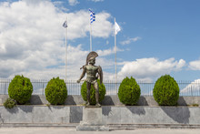 Statue Of King Leonidas In Sparta, Peloponnese, Greece