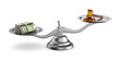 wooden gavel, money and scale on white background. Isolated 3D illustration