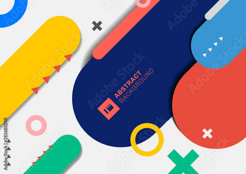 Fotomural Abstract modern geometric colorful rounded line on white background