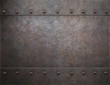 Rustic Rivets Metal Background 3d Illustration