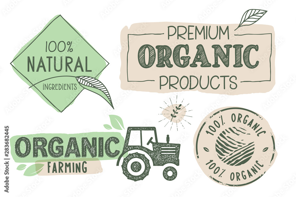 Fototapeta Organic food, farm fresh and natural products labels and stickers collection. Vector illustration for food market, e-commerce, restaurant, healthy life and premium quality food and drink promotion.