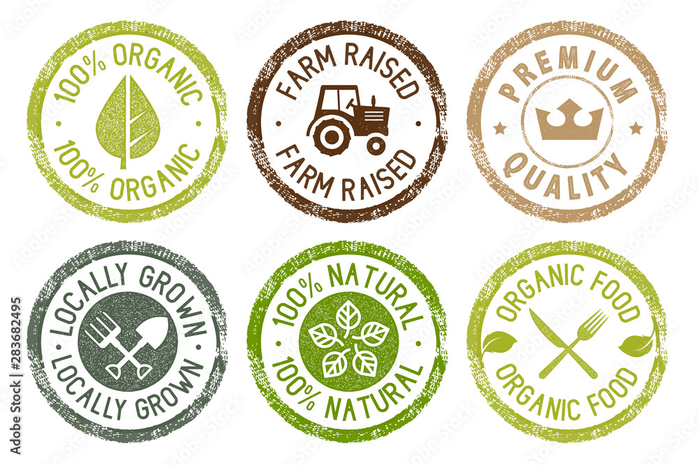Fototapeta Organic food, farm fresh and natural products stickers collection. Vector illustration for food market, e-commerce, restaurant, healthy life and premium quality food and drink promotion.