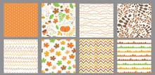 Autumn Seamless Patterns Set Fall Thanksgiving Seamless Background Pumpkin, Maple Leaf Geometric Endless Texture