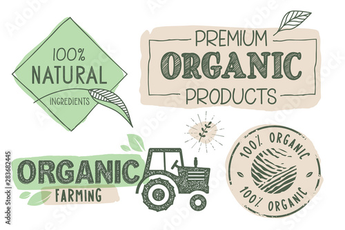 Fototapeta Organic food, farm fresh and natural products labels and stickers collection. Vector illustration for food market, e-commerce, restaurant, healthy life and premium quality food and drink promotion. obraz