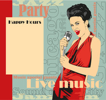 Vintage Poster With Lady Singer Red Dress. Vector Image