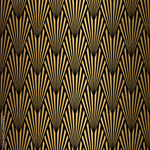 Foto auf Leinwand Künstlich Art Deco Pattern. Seamless black and gold background