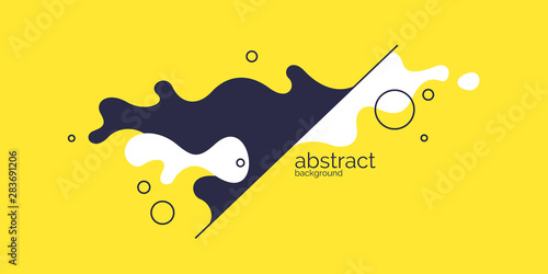 Bright poster with dynamic waves. Vector illustration in minimal style. Abstract background. - 283691206