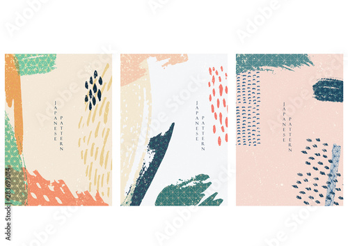 Brush stroke background with Japanese pattern vector. Abstract elements. - 283693014