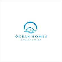 Ocean House Logo Design, Home Beach Logo Water Design, Real Estate Beach Logo Design Resort, Cottage Wave Logo Icon, Marine, Holiday, Hotel Sea Logo, Vacation Summer Travel Sea
