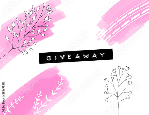 Obraz na plátně  Giveaway banner with pink paint strokes and stains