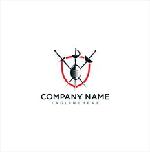 Shield Fencing Logo Design Vector Stock Template. Secure Guard Sport Fencing Logo Design