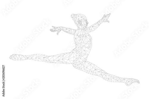 Photo  split jump woman gymnast in gymnastics. polygonal wireframe