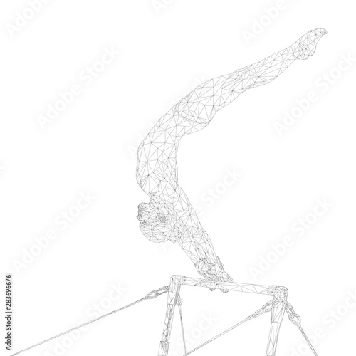 Fotomural  gymnastics women athlete in uneven bars polygonal wireframe