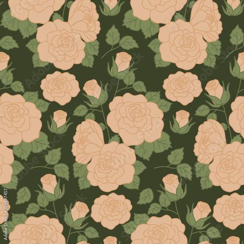 Fotografie, Obraz  Bold vintage roses in a seamless pattern design