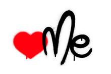 Graffiti Red Heart,like Me,love Me Sprayed Over White