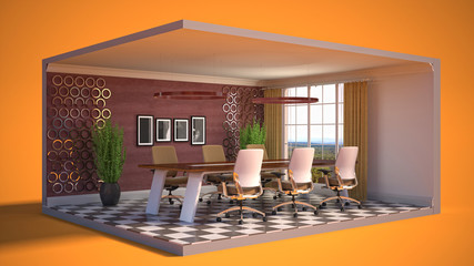 Office interior in a box. 3D illustration
