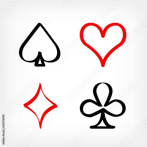 Photo  drawn playing card sign symbols