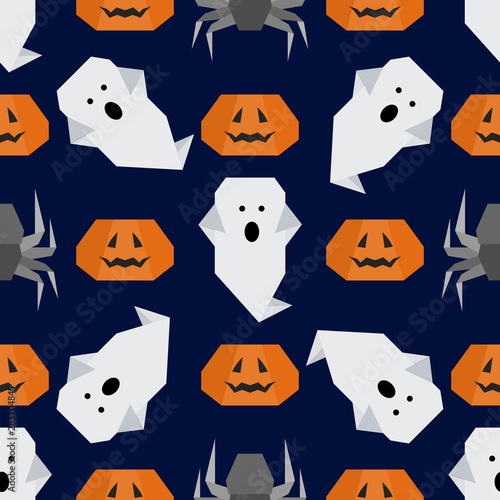 Vector seamless pattern Halloween Party origami