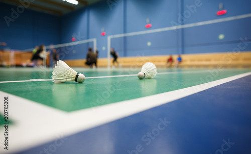 Badminton - badminton courts with players competing; shuttlecocks in the foreground (shallow DOF; color toned image) Canvas Print