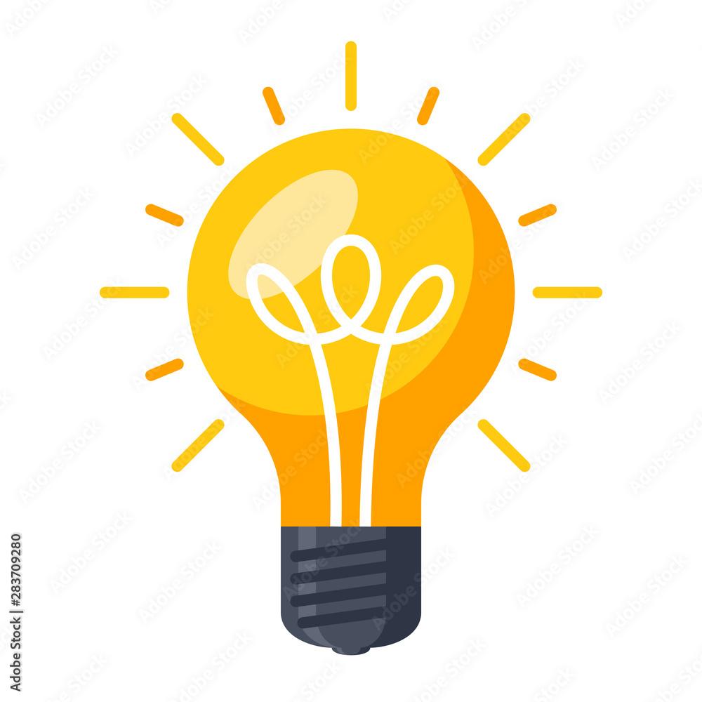 Fototapety, obrazy: Innovative idea modern stylish icon with light bulb