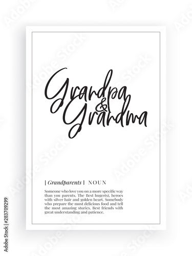 Valokuva Minimalist Wording Design, Grandpa Grandma definition, Wall Decor, Wall Decals V