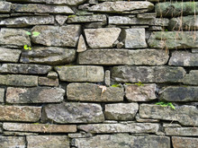 Old Dry Stone Wall Made With Sandstones (pietra Langa)