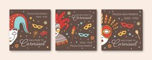 Collection Of Square Card Or Party Invitation Templates With Traditional Venetian Masks And Costumes For Carnival, Mardi Gras Show, Performance Or Masquerade Ball. Vector Illustration In Linear Style.