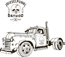 Diesel Punk Hot Rod Truck, Iso...