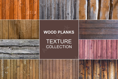 Poster de jardin Montagne old wood planks texture collection