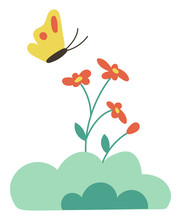 Butterfly On Flowers Isolated Cartoon Style Bud. Vector Yellow Insect With Red Dots On Wings And Spring Or Summer Time Flowers. Green Bushes And Plants