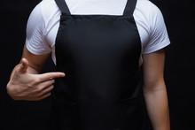 Closeup Strong Man Wearing Bla...