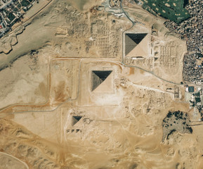 High resolution Satellite image of The Pyramids, Egypt (Isolated imagery of Egypt. Elements of this image furnished by NASA)