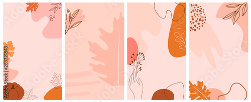 Printed kitchen splashbacks Butterflies in Grunge Set of abstract background with autumn elements, shapes and plants in one line style. Background for mobile app page minimalistic style. Vector illustration