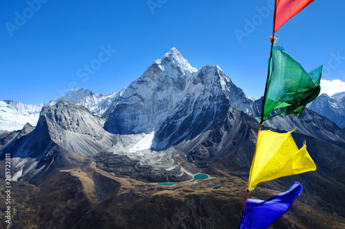 Fotografie, Obraz  Colorful landscape with high Himalayan mountain Ama Dablam, beautiful valley wit
