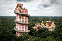 Bangkok, Thailand, Aerial View Of Wat Samphran Dragon Temple
