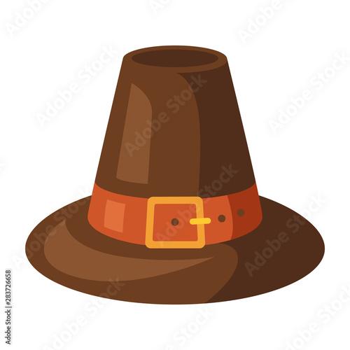 Fotografía  Happy Thanksgiving illustration of pilgrim hat.