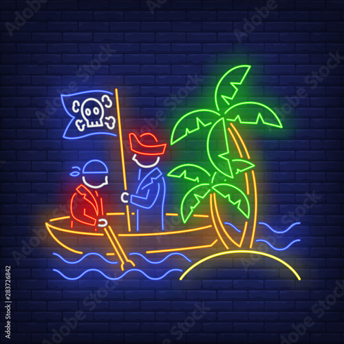 Pirates on boat and island with palm trees neon sign Wallpaper Mural