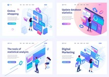 Set Isometric Landing Pages, O...